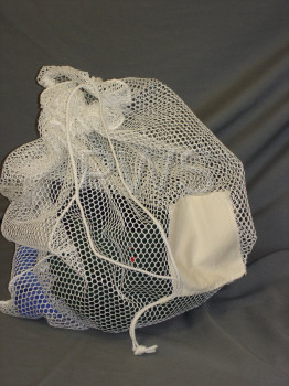"Miscellaneous Parts - BASIC Wash net with ID Tag and Draw cord Closure - White (18"" x 24"")"