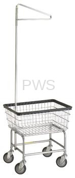 R&B #100E91 Rolling Standard Laundry Cart/Chrome Basket w/Sngl Pole Rack on Wheels