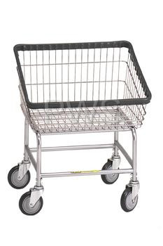 R&B #100T Rolling Front Load Laundry Cart/Chrome Basket on Wheels