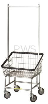 R&B #200S56 Large Capacity Front Load Laundry Cart/Chrome Basket w/Dbl Pole Rack on Wheels