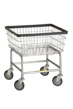 R&B #100D Rolling Narrow Laundry Cart/Chrome Basket on Wheels