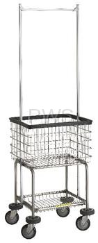 R&B #300G55 Deluxe Elevated Laundry Cart/Chrome Basket w/Dbl Pole Rack on Wheels