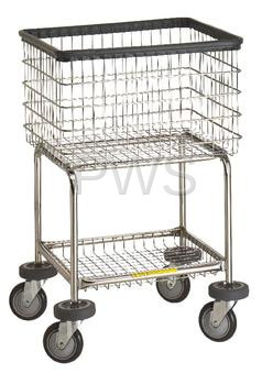 R&B #300G Elevated Laundry Cart/Chrome Basket on Wheels