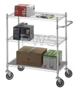 R&B Wire Products - R&B Wire UC1848SOL Linen Cart 18x48x42 w/Solid Bottom 16 gauge Chrome Plated Shelf
