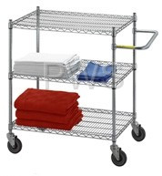 R&B Wire Products - R&B Wire UC2436 Linen Cart 24x36x42, 3 Wire Shelves