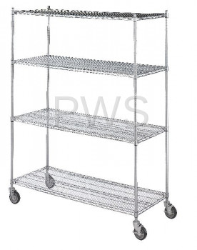 R&B Wire Products - R&B Wire LC244872 Linen Cart 24x48x72, 4 Wire Shelves
