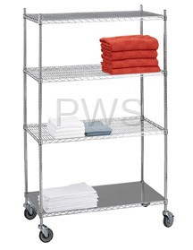R&B Wire Products - R&B Wire LC244872SOL Linen Cart 24x48x72 w/Solid Bottom 16 gauge Chrome Plated Shelf