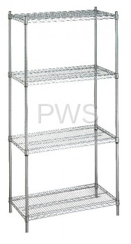 R&B Wire Products - R&B Wire SU244872 Shelving Unit 24x48x72 (w/o Casters), 4 Wire Shelves