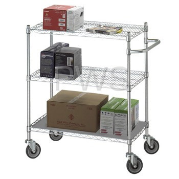 R&B Wire Products - R&B Wire UC2448SOL Linen Cart 24x48x42 w/Solid Bottom 16 gauge Chrome Plated Shelf