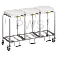 """R&B Wire Products - R&B Wire 686NB Triple """"Leakproof"""" Hamper w/Foot Pedal - No Bag"""
