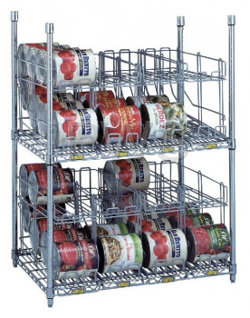 R&B Wire Products - R&B Wire CRS2243672 2 Tier Can Rack System, 3 Wire Shelves & 8 Modules - 64 #10 Cans