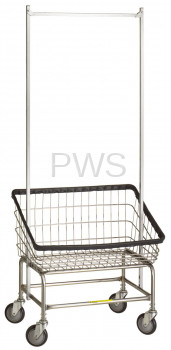 R&B Wire Products - R&B Wire #100T58 Rolling Front Load Laundry Cart/Chrome Basket w/Dbl Pole Rack